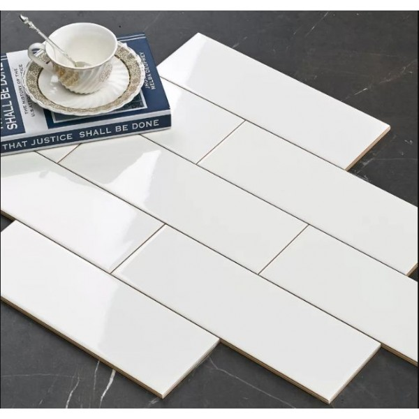 *OFFER* 100x300mm Subway Tile - White (4x12 inch) Glossy