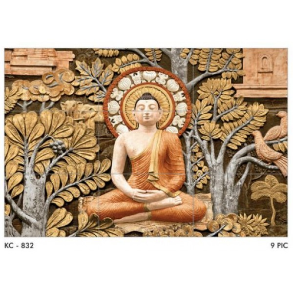 * New * 300x450mm Poster Wall Tile - Buddha 832 (3Feetx4.5Feet)