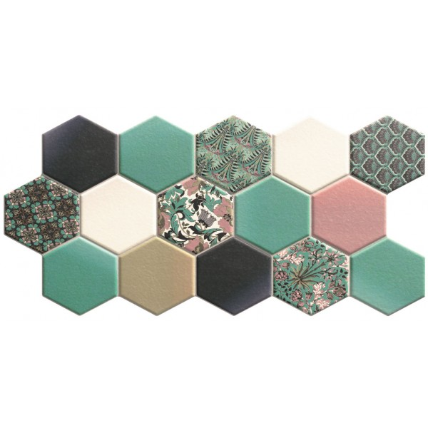 Designer Wall Tile - Hexagon Nouveau Green 265x510mm