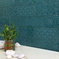 * 100x200mm Subway Tile - Aqua Blue ( Cracquele Tile)