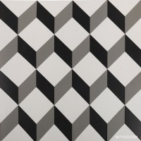 600x600 mm - Digital Floor and Wall Tile - GS Moroccan Cubico Blacko