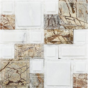 * Natural Stone Cladding MYT105 - White and Brown Marble Mosaic