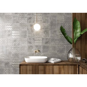 * New * 235x235 mm Imported Designer Wall Tile - Cuadrado Glam Grey