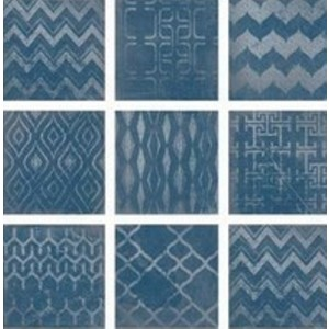 * New * 235x235 mm Imported Designer Wall Tile - Cuadrado Glam Blue